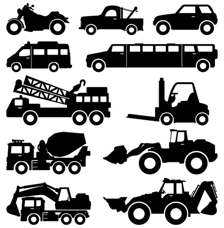 loaders: Excavator Motorcycle Truck Van Limousine Lorry Car Forklift Vehicle Transportation Illustration