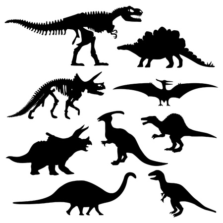 恐竜: 恐竜シルエット先史時代のスケルトンのボーン