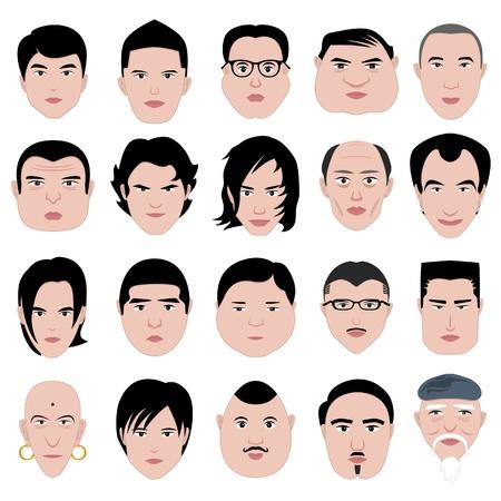 hombre flaco: la cara del hombre forma peinado grasa fina de edad ronda