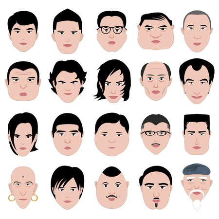 round face: man face shape hairstyle round fat thin old Illustration