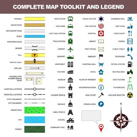 carte icône de légende signe symbole de l'élément boîte à outils