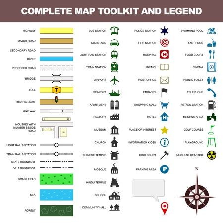 kaart pictogram legenda, symbool, teken toolkit element