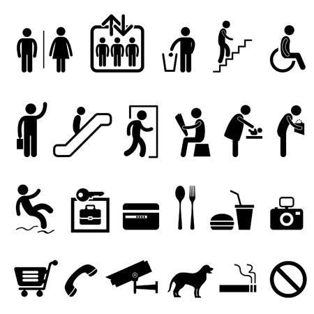 piktogram: Public Shopping Center Budynek Handlowy Znak Symbol Icon Ilustracja