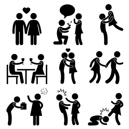 Lover Couple Love Proposal Wedding Marriage Hug Romantic Kissing Holding Hand Gift Angry Slap Kick Illustration