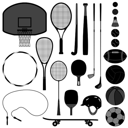 Sport Equipment Tool Basketball Tennis Badminton Football Soccer Rugby Hockey Baseball Volleyball Squash Golf Ball Vector