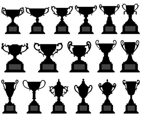Trophy Cup Silhouette Black Set Vector