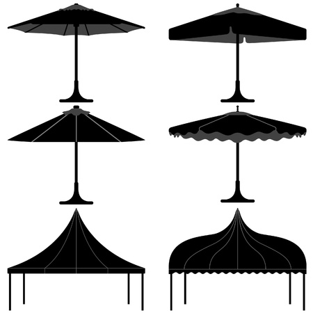 paraplu tent gazebo luifel kamp silhouet Vector Illustratie
