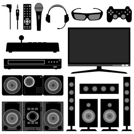 sound system: Audiovisual sistema electr�nico de aparatos el�ctricos para sala de estar Vectores
