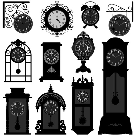 Clock Time Timepiece Antique Vintage Ancient Classic Old Traditional Retro Vector