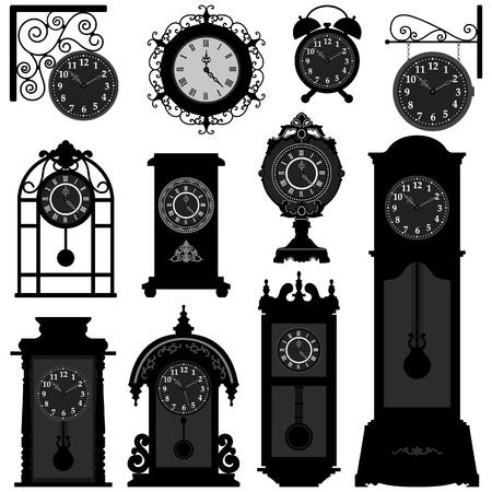 orologi antichi: Time Clock Orologio Antique Vintage Ancient Classic Old retro tradizionale Vettoriali
