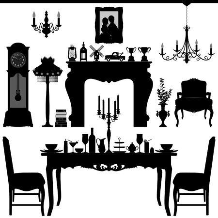 Dining Area Traditional Old Antique Furniture Interior Design Vector