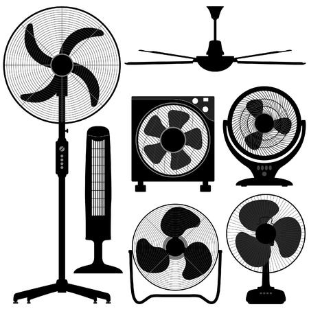 Standing Table Ceiling Fan Design Vector