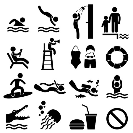 clavados en la piscina: Man Gente Piscina Mar Beach Sign Symbol Pictogram Icono Vectores