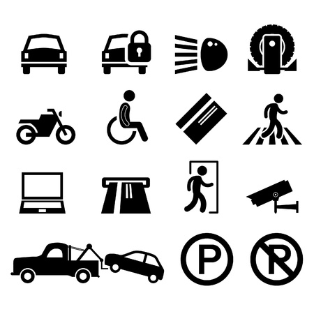 tow: Car Park Parking Area Sign Symbol Pictogram Icon Reminder Illustration