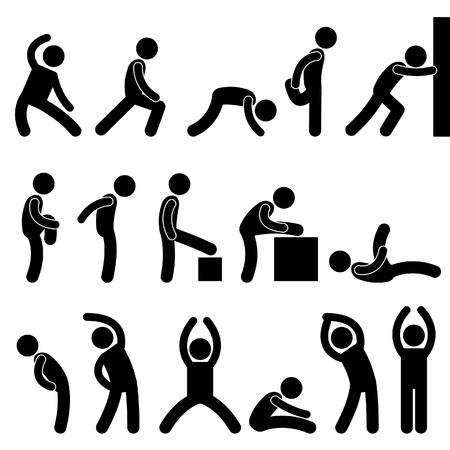 Hombre Gente Ejercicio Atlético estiramiento Calentamiento del símbolo Icono Pictograma Ilustración de vector