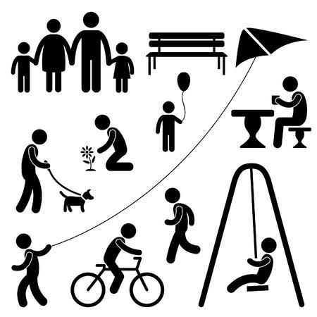 Man Familie Kinderen Mensen Garden Park Activiteit Teken Symbool Pictogram Pictogram