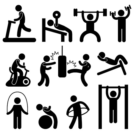 exercise cartoon: Man People Athletic Gym Gymnasium Body Building Exercise Healthy Training Workout Sign Symbol Pictogram Icon