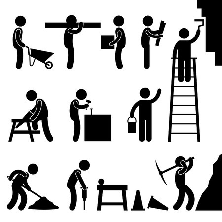 hard: Man People Working Construction Carrying Building Industry Painting Sawing Hard Labor Pictogram Icon Symbol Sign Illustration