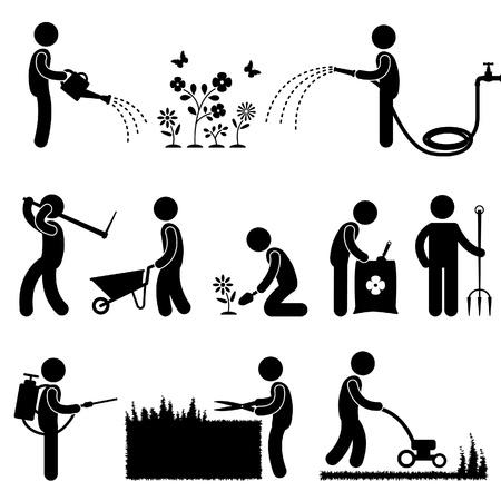 watering: Man Mensen Tuinieren Werk Watering Plant Bloem Scherpe Meststof Insecticide Gras Pictogram Pictogram Symbool Aanmelden Stock Illustratie