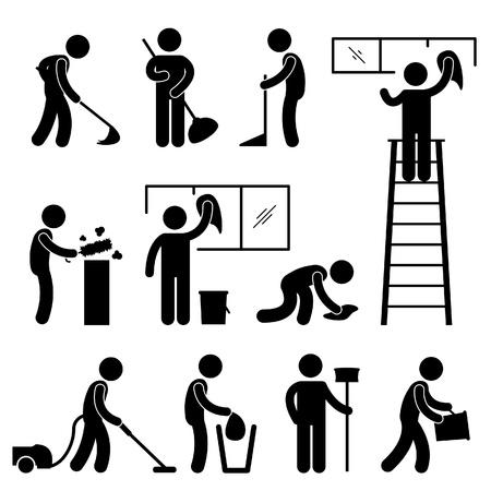 Man Mensen Schoonmaken Wassen vegen Vegen Stofzuiger Worker Pictogram Pictogram Symbool Aanmelden Vector Illustratie