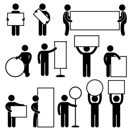 piktogram: Mężczyzna niosący Gospodarstwa Baner puste puste szyld afisz marketingu Ikona Znak Piktogram Symbol Ilustracja