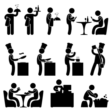 Man People Restaurant Waiter Chef Customer Icon Symbol Pictogram Vector