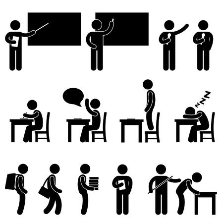leccion: School Teacher Student clase aula de Educación símbolo Icono Pictograma