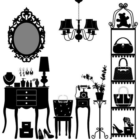 antique furniture: Woman Cosmetic Accessories Room Furniture Illustration