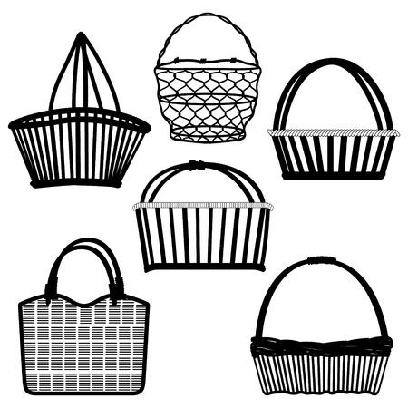 košík: Basket Bag Container Wired Dřevěné Craft Ruční starověký tradiční Retro Vintage Ilustrace
