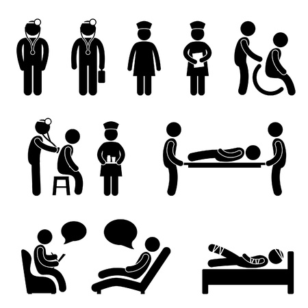 Dottore Nurse Hospital Medical Psichiatra Paziente ammalato icona segno simbolo Pittogramma Vettoriali