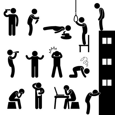 leven en dood: Man Mensen leven zelfmoord Suïcidale Kill Desperate Death Stress Sad Icon Pictogram Symbool