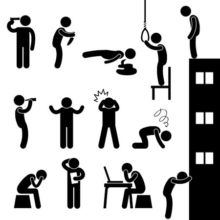 life and death: Man People Life Suicide Suicidal Kill Desperate Death Stress Sad Icon Pictogram Sign Symbol Illustration