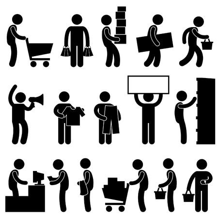 shopper: Man Menschen Warenkorb Beschaffungsmarkt Einzelhandel Verkauf Queue Business-Gewerbe Icon Sign Symbol Piktogramm