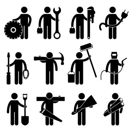 herramientas de construccion: Ingeniero Mecánico Electricista Fontanero Wireman Carpintero Pintor Soldador Construcción Arquitecto Ocupacion Sign Symbol Pictogram Icono