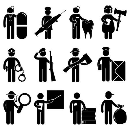 silhouette soldat: Infirmi�re Dentiste Docteur Juge Policier Pompier Pompier Arm�e Postman d�tective enseignant biblioth�caire Garbage Collector emploi Emploi de symbole Ic�ne Pictogramme