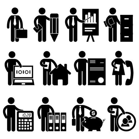 Homme d'affaires Writer Analyste Programmeur comptable Agent immobilier Avocat Secrétaire Comptable Banquier Gestionnaire Job Métier pictogramme Symbole Icône