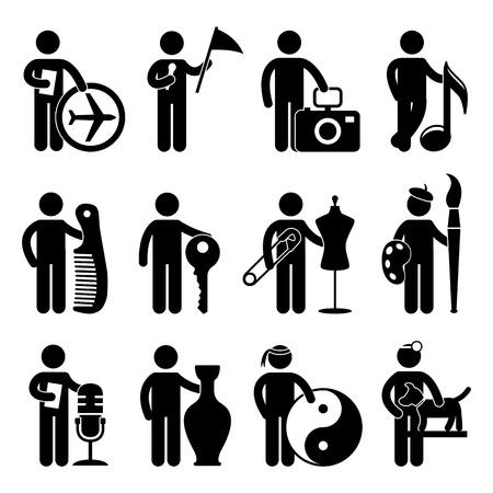 worker cartoon: Gira Agente Fotógrafo Guía Músico Barber Locksmith Painter Tailor DJ Martial Art Guru Veterinario Animal Doctor Job Ocupación Sign Symbol Pictogram Icono