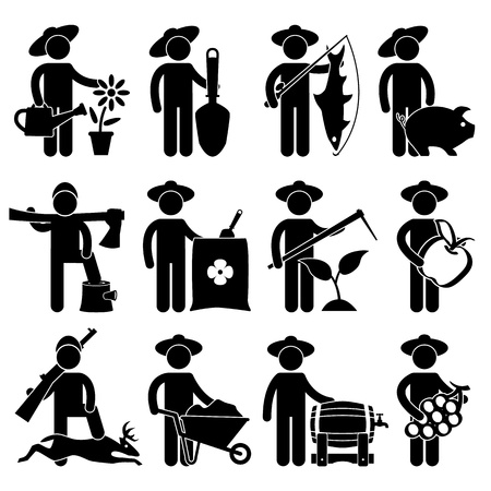 agriculture industrial: Farmer Gardener Fisherman Poultry Lumberjack Hunter Village Job Occupation Sign Pictogram Symbol Icon