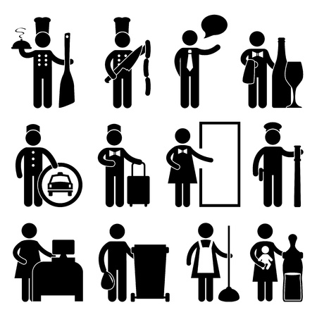 the maid: Chef Manager Waiter Butler Taxi Driver Bellman Receptionist Security Guard Cashier Cleaner Maid Babysitter Nanny Job Occupation Sign Pictogram Symbol Icon