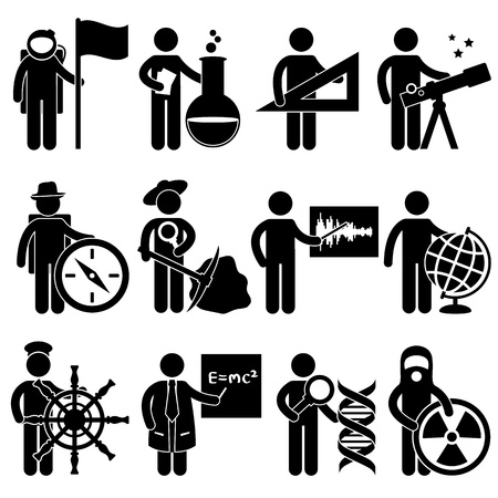 scientists: Astrologer Spaceman Chemist Mathematician Astrologer Explorer Archaeologist Seismologist Cartographer Geographer Sailor Professor Forensic Science Nuclear Job Occupation Sign Pictogram Symbol Icon