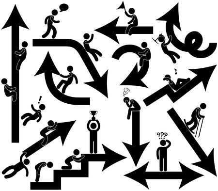 obstaculo: Gente de negocios Emotion Arrow Sign Symbol Pictogram Icono