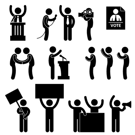 elections: Politic Politician Reporter Journalist Vote Speech Supporter Citizen Unhappy Protester Election Campaign Illustration