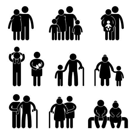 rodina: Šťastná rodina Otec Matka Babička Dědeček Děti Syn Dcera Dítě Kojenec Batole Old Man Woman Vnoučata manžel manželka mateřská Společně Ikona znak symbol Piktogram Ilustrace