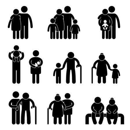 familie: Happy Family Vater Mutter Großmutter Großvater Kinder Sohn Tochter Baby Infant Toddler Old Man Woman Enkelkinder Husband Wife Eltern zusammen Icon Sign Symbol Piktogramm Illustration