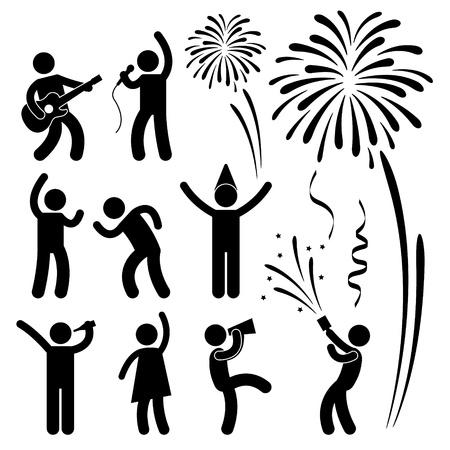 Viering van de Partij Event Festival Mensen Uitgaan Joyful Karaoke Zingen Dansen Vuurwerk Icoon Teken Symbool Pictogram Vector Illustratie