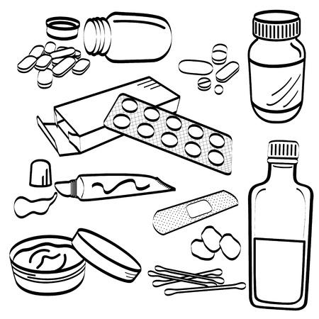 kunststoff rohr: Medical Medicine Tablet Pill Creme Cotton Bud Hustensaft Salbe Tube Gel Gips Doodle Illustration