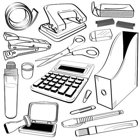 agrafeuse: bandes � perforer trou agrafeuse ciseaux Calculatrice Gum Glue Company Stamp Chop dossier Pen march� clip Doodle �quipement Outil d'esquisse de bureau Illustration