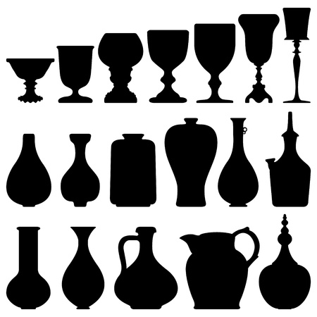 Antique Wine Glass Jug Vintage Kitchen Vector