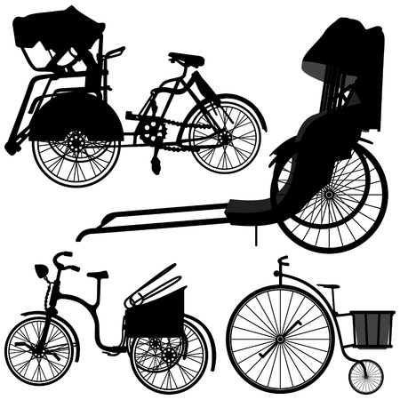 bicycle silhouette: Bicycle Trishaw Transportation Vintage Antique Old Wheel