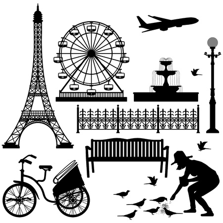 banc de parc: Paris Street Park Tour Eiffel Ferris Wheel Illustration